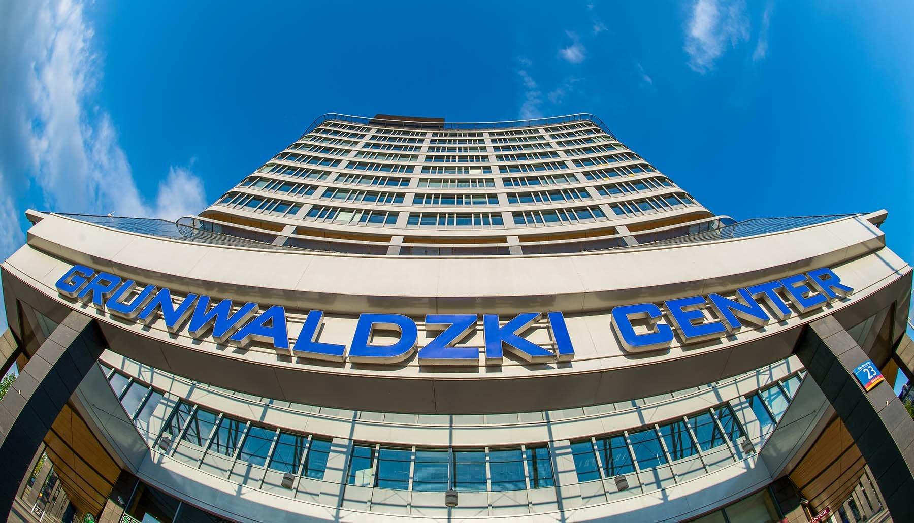 Wejście do biurowca Grunwaldzki Center we Wrocławiu