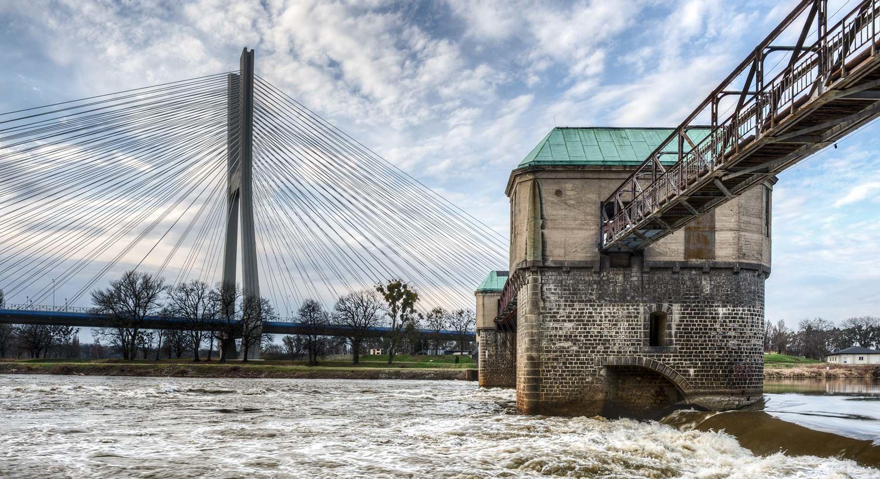 Wzburzone fale Odry na jazie rędzińskim na tle mostu