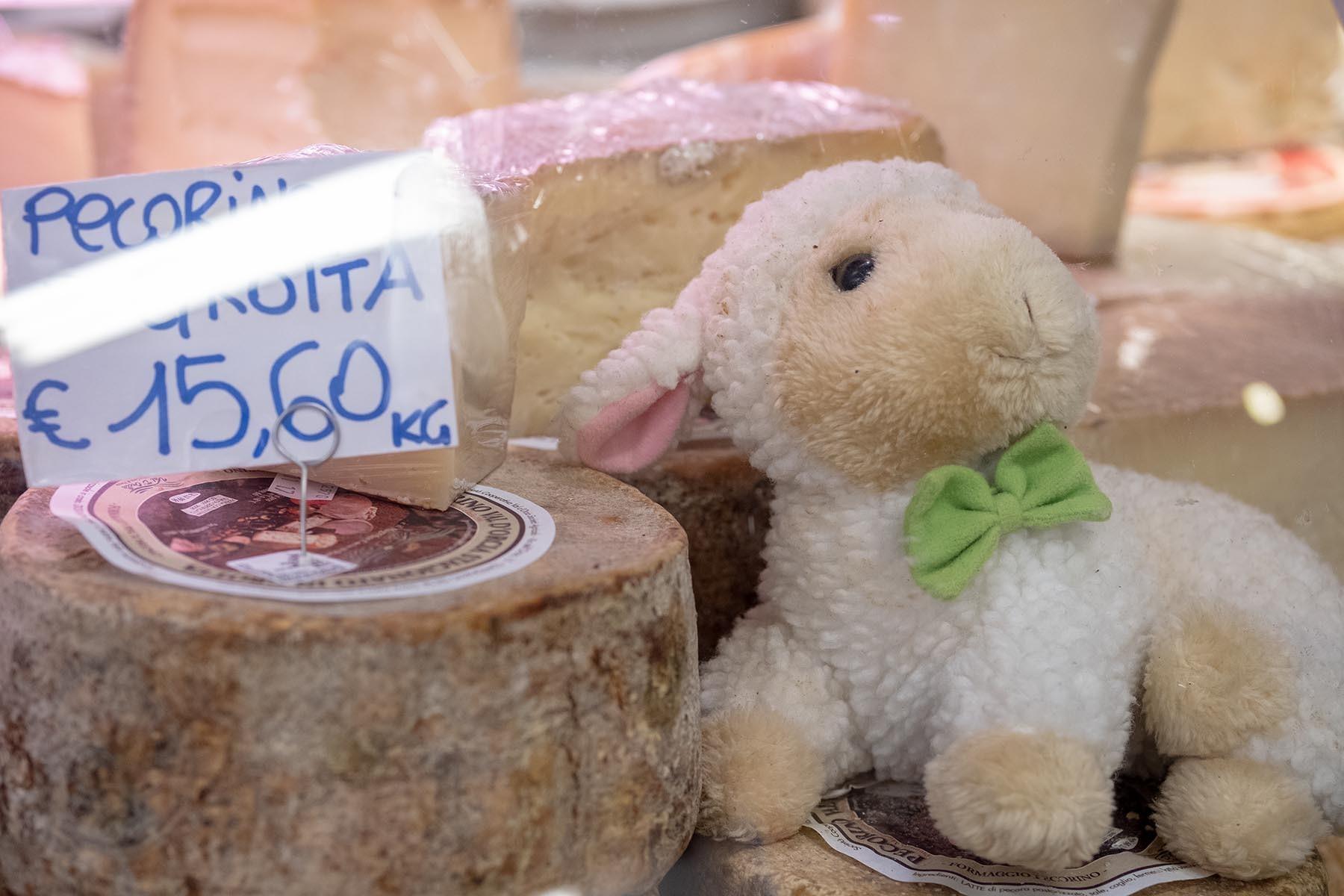 Ser pecorino i owieczka - wystrój sklapu Mercato Centra;e we Florencji