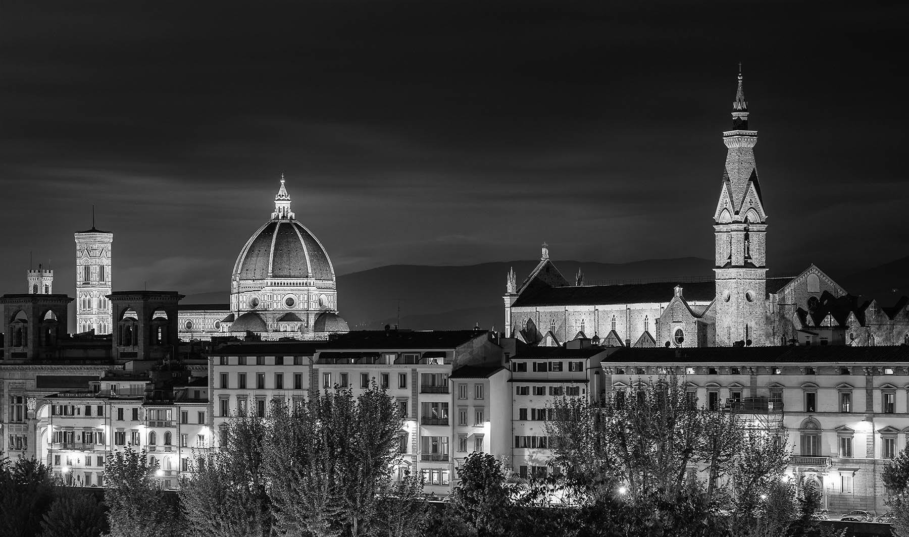 Czarno biała panorama Florencji