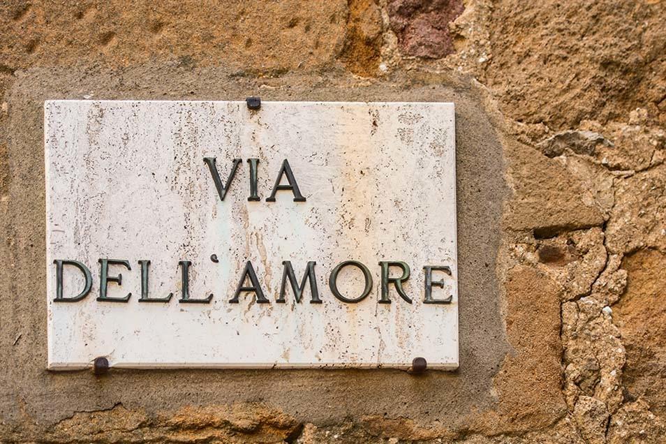 Via dell amore w toskańskiej miejscowości Pienza